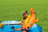 Little boy in a lifejacket — Stock Photo