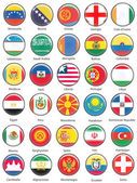 Vector World Flag Buttons - Pack 8 of 8 — Stock Photo