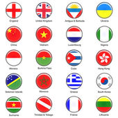 Vector World Flag Buttons - Pack 1 of 8 — Stock Photo