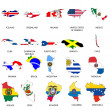 Illustrated Outlines of Countries with Flag inside — Stock Photo #19424247