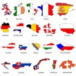 Illustrated Outlines of Countries with Flag inside - Stock Photo