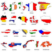 Illustrated Outlines of Countries with Flag inside — Stock Photo