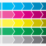 Flat design. Process arrows boxes. Step by step set. Five steps. — Stock Photo #50450541