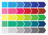 Diseño plano. flechas de proceso cajas. paso a paso conjunto. cinco pasos. — Foto de Stock