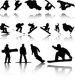 Illustration of Silhouettes of Snowboarders with reflection — Stock Photo