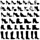 Illustration of Womens shoes and boots icon set — Stock Photo