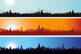 Illustration of Cityscape at Different Times — Stock Photo