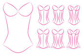 Illustration of Blank Oultines of Corsets with Different Styles — Stock Photo