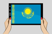 Tablet computer with the flag of Kazakhstan — Stock Vector