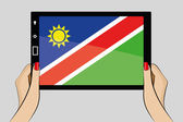 Tablet computer with the flag of Namibia — Stock Vector