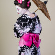 Japanese womshows kimono with umbrella — Stock Photo #16034091