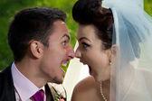Unusual wedding photos with humor — Stock Photo