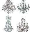 Stock Photo: Chandelier raster drawings