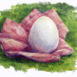 Egg on grass oil painting — Stock Photo #14144007