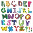 ABC. Kids funny alphabet, vector — Stockvectorbeeld