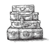 Sketch drawing of luggage bags — Stockvektor