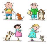 Dzieci z psami — Wektor stockowy