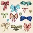 Set of bows, hand drawn — Stock Vector
