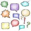 Set of colorful speech bubbles, hand-drawn — Stock Vector