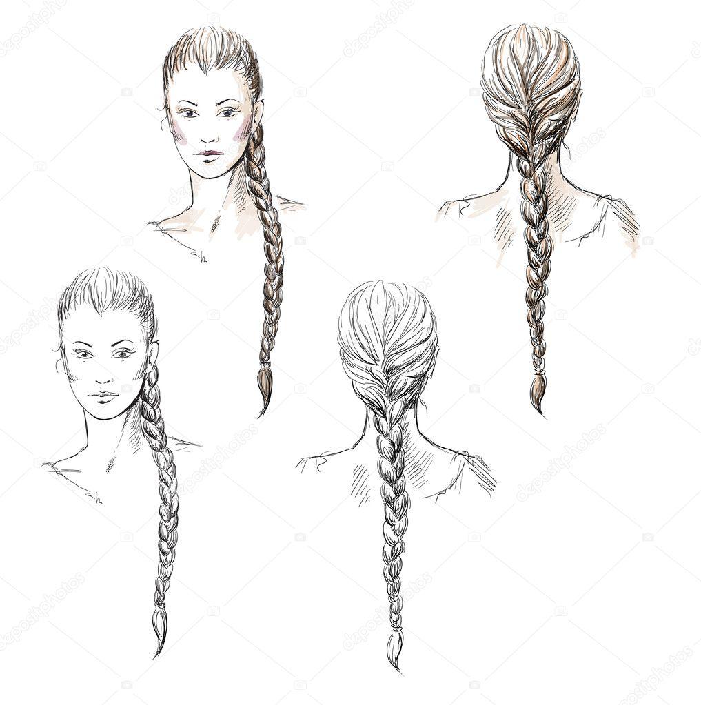 Причёски девушек карандашом