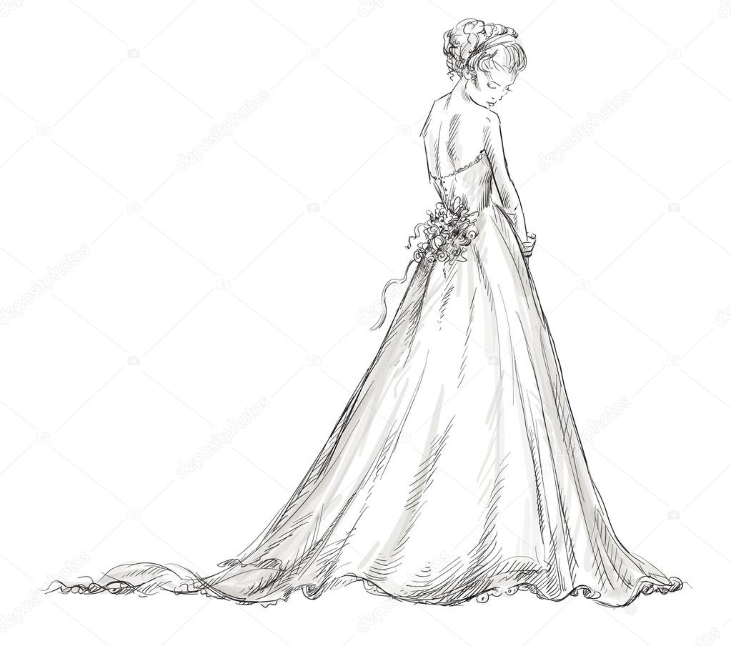 Drawn wedding dresses pictures
