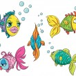 Set of funny cartoon fish - Stock Vector