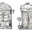 Wektor stockowy : Shop-window and entrance door drawing, retro style