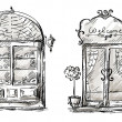 Shop-window and entrance door drawing, retro style — 图库矢量图片