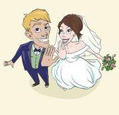 幸せな結婚式のカップルは、ちょうど結婚 — ストックベクタ