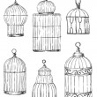 Set of different cages, hand-drawn — Vettoriali Stock