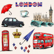 London symbols. Set of drawings. — Stock Vector