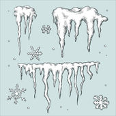 Icicles and snowflakes. Winter theme. — Stock Vector