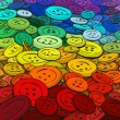 Colorful buttons background. Cartoon style. — Imagen vectorial