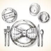 Festive table setting — Stock Vector