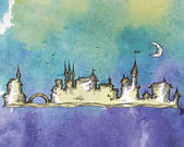 Old city on a watercolor background — Stockvektor