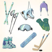 Winter sports equipment icons collection — Stock Vector