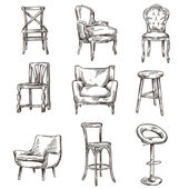 Set of hand drawn chairs — Stock Vector
