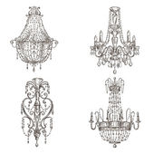 Set of chandelier drawings — Vector de stock
