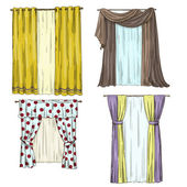 Set of curtains. interior details. Cartoon style. Vector illustration — Vettoriale Stock