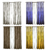 Set of curtains drawings sketch style — Wektor stockowy