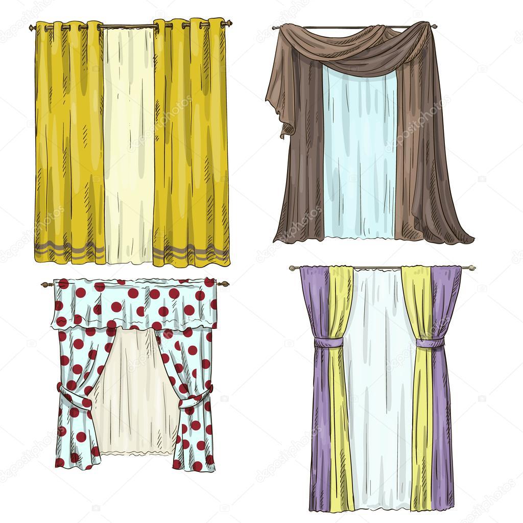 Juego de cortinas detalles interiores estilo de dibujos - Dibujos para cortinas ...