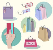 Shopping icons, sale tag, paper bags, hand with credit card — Stock Vector