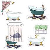 Bathtubs cartoon style. Bathroom interior element. Vector — Stock Vector