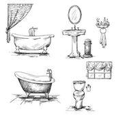 Bathroom interior elements. hand drawn. — Stock Vector