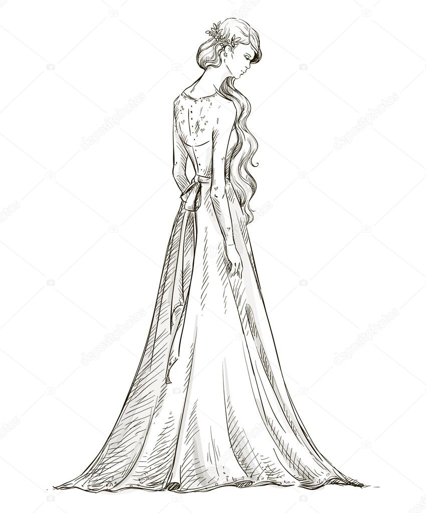 Wedding Hairstyles Drawing: Beautiful Girl With Long Hair. Bride. Bridal Dress. Hand