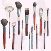 Make up brushes collection. Fashion illustration. Vector sketch. — Stock Vector
