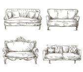 Set of sofas drawings sketch style, vector illustration — Vector de stock