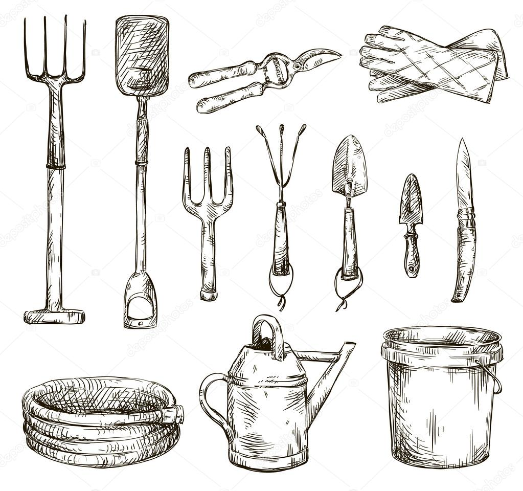 Set of gardening tools drawings vector illustrations for Different tools and equipment in horticulture