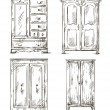 Set of hand drawn wardrobes. Interior elements. Vector illustration. — Stock Vector #49891017