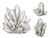 Set of crystals drawings. Vector illustration. — Stock Vector